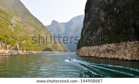 Beautiful View of Daning River, Dragon Gate Gorge - Wushan, Chongqing, China - stock photo