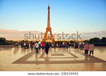 Beautiful view of Eiffel Tower at sunset from the Palais de Chaillot in Paris, France - stock photo