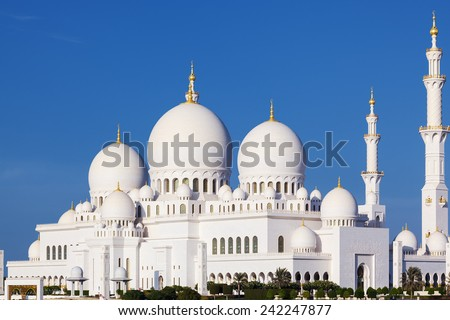 Beautiful view of famous Sheikh Zayed Grand Mosque, UAE - stock photo