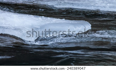 Beautiful view of flowing water and ice in winter - stock photo