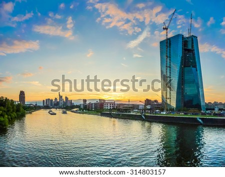 Beautiful view of Frankfurt am Main skyline and European Central Bank at dusk, Germany - stock photo