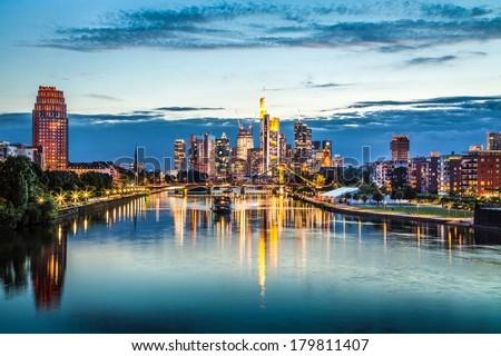 Beautiful view of Frankfurt am Main skyline at dusk, Germany - stock photo
