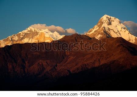 Beautiful view of Himalayan mountains when see during Poonhill peak trekking way, Nepal - stock photo