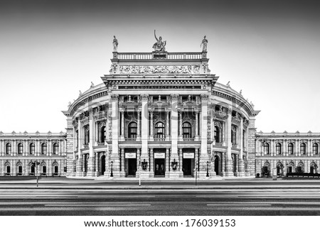 Beautiful view of historic Burgtheater (Imperial Court Theatre) with famous Wiener Ringstrasse in Vienna, Austria - stock photo