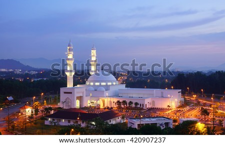 Beautiful view of Hussain Mosque, Seremban 2 from top angle in the morning - stock photo