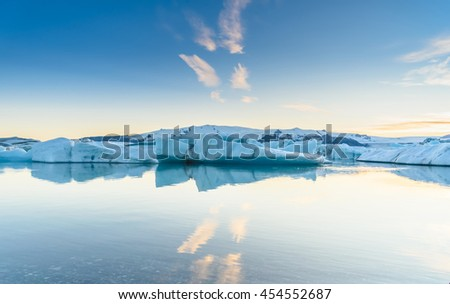 Beautiful view of icebergs in Jokulsarlon glacier lagoon, Iceland, global warming and climate change concept, selective focus - stock photo