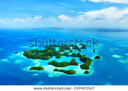 Beautiful view of 70 islands in Palau from above - stock photo