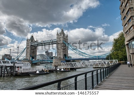 Beautiful view of Magnificent Tower Bridge in London. - stock photo