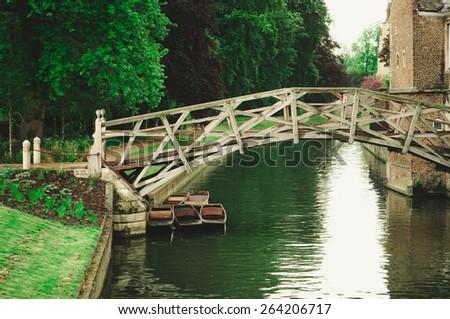 Beautiful view of Mathematical bridge, Cambridge, UK - stock photo