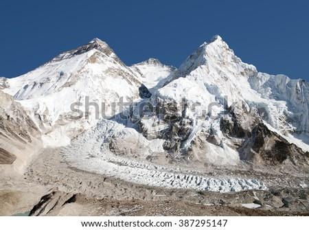 Beautiful view of mount Everest, Lhotse and nuptse from Pumo Ri base camp - way to Everest base camp, Khumbu valley, Sagarmatha national park, Nepal - stock photo