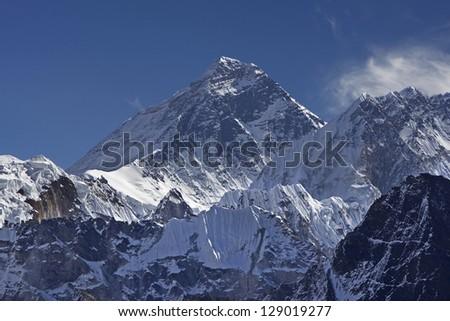 Beautiful view of Mount Everest (8848 m) from the Gokyo Peak Summit, Nepal, Himalayas - stock photo