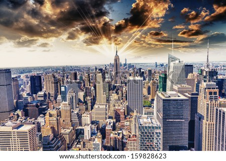 Beautiful view of  New York City skyline. - stock photo