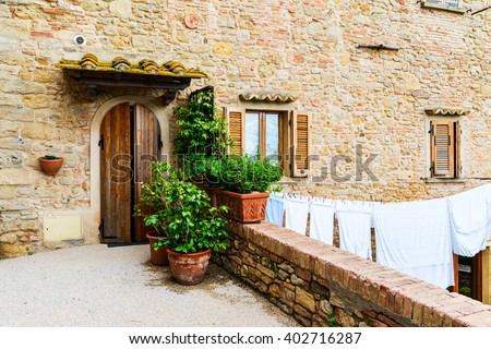 Beautiful view of old traditional houses  in the historic town of Volterra, province of Pisa, Tuscany, Italy - stock photo