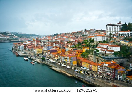 Beautiful view of Porto old city, Portugal - stock photo