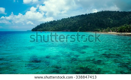 Beautiful view of sea lanscape with green-blue clean water,Malaysia - stock photo
