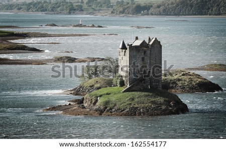 Beautiful view of Stalker castle in Highlands, Scotland, UK.  - stock photo
