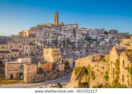 Beautiful view of the ancient town of Matera (Sassi di Matera), European Capital of Culture 2019, in beautiful golden morning light, Basilicata, southern Italy - stock photo