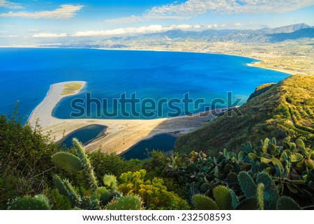 beautiful view of the bay of Tindari with the Marinello beach, Sicily, Italy - stock photo