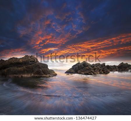 Beautiful view of the coast - stock photo