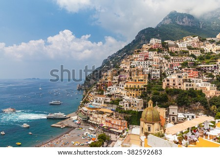Beautiful view of the colorful houses and Mediterranean Sea in Positano, Italy - stock photo