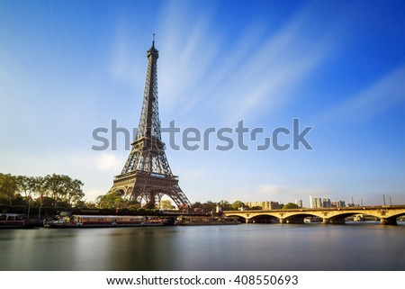 Beautiful view of the Eiffel tower at the river Seine in Paris, France - stock photo