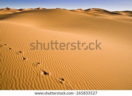 Beautiful view of the Erg Chebbi Dunes in the Sahara Desert, Morocco - stock photo