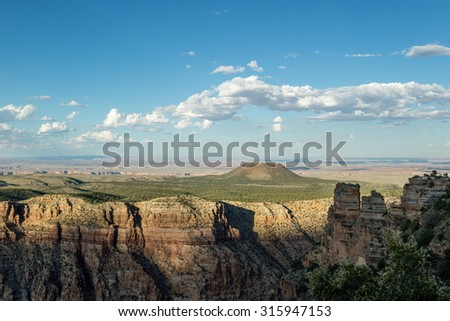 Beautiful view of the Grand Canyon National Park at sunset from the south rim at desert view point in Arizona, USA - stock photo