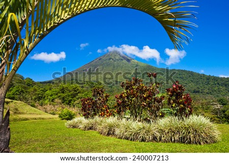 Beautiful view of the green side of the Arenal volcano, Costa Rica. - stock photo
