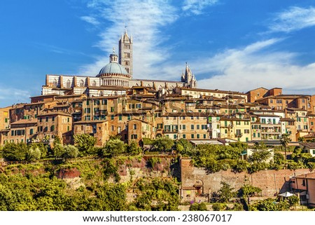 Beautiful view of the historic city of Siena. Tuscany, Italy - stock photo