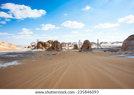 Beautiful view of the limestone formations of the White Desert, a national park of Egypt - stock photo