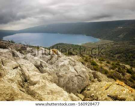 Beautiful view of the natural phenomena such as the Vrana Lake on Cres, Croatia. - stock photo