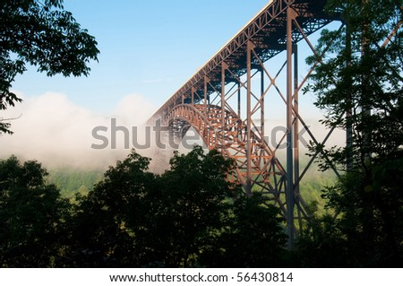 Beautiful view of the New River Gorge Bridge in West Virginia.  The largest Steel-Arch bridge in the Western Hemisphere - stock photo