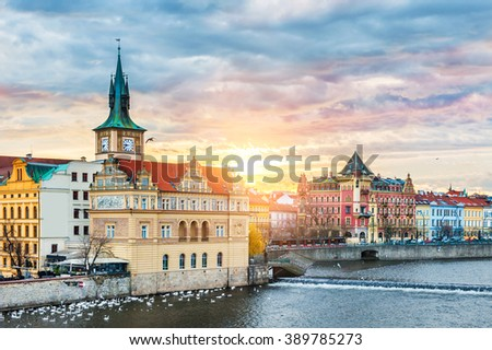Beautiful view of the Old Town and Vltava river at sunrise in Prague, Czech Republic - stock photo
