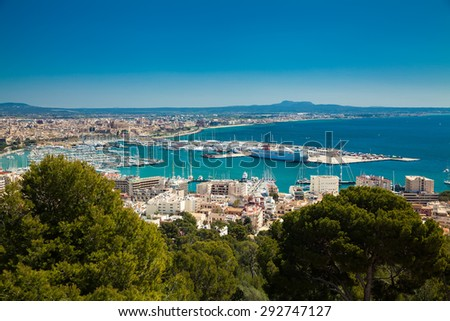 beautiful view of the Palma de Mallorca port and its old town , Spain - stock photo