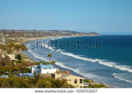 Beautiful view of the Point Dume State Beach, Malibu - stock photo
