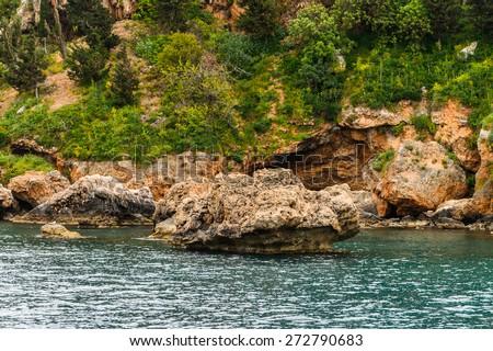 Beautiful view of the rock and the Mediterranean sea, Antalya, Turkey - stock photo