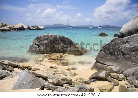 Beautiful view of the rocky shorelines at Virgin Gorda. - stock photo