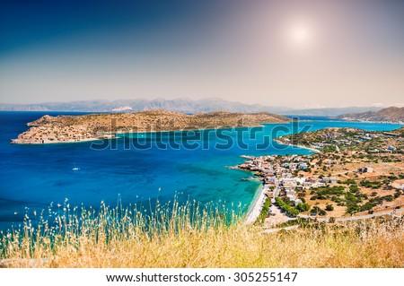 Beautiful view of the sea coast. East coast of Crete island, Greece. - stock photo