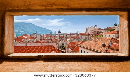 Beautiful view of the walled city, Dubrovnik Croatia - stock photo
