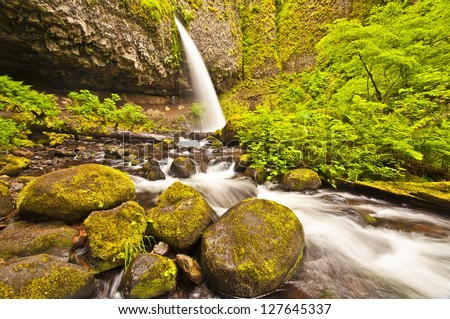 Beautiful view of Upper ponytail falls - stock photo