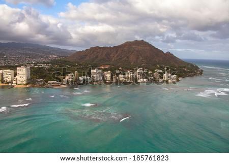 Beautiful view of Waikiki beach - stock photo