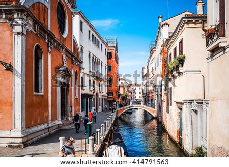 Beautiful view of water street and old buildings in Venice, ITALY - stock photo
