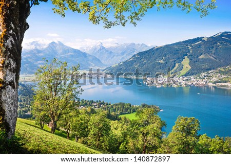 Beautiful view of Zell am See with Zeller Lake in Salzburger Land, Austria - stock photo