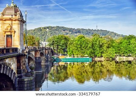 Beautiful view Old Bridge Legii (Most Legii) from the waterfront of the Vltava River.Prague.Czech Republic. - stock photo