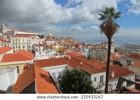 Beautiful view on Alfama district in Lisbon (Portugal) - stock photo