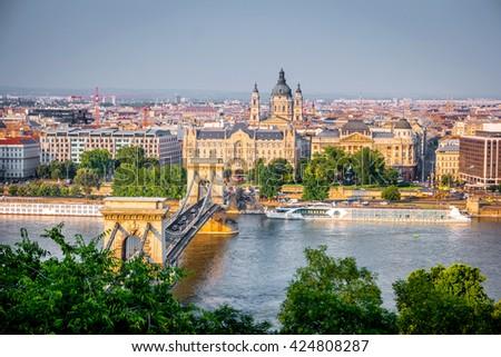 beautiful view on Budapest and Danube bridge - stock photo