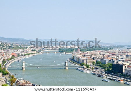 Beautiful view on Budapest and river Danube from Gellert hill - stock photo
