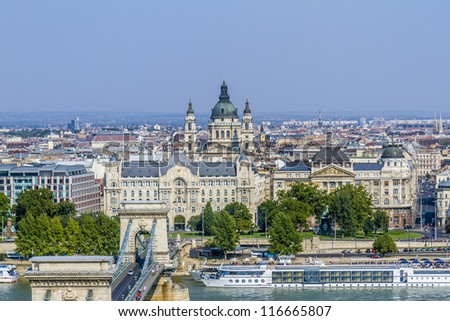 Beautiful view on Budapest and river Danube from Royal Castle Hill. - stock photo