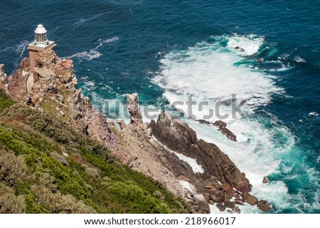 Beautiful view on Cape of Good Hope Lighthouse - stock photo