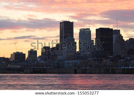 Beautiful view on downtown Montreal in Canada - stock photo